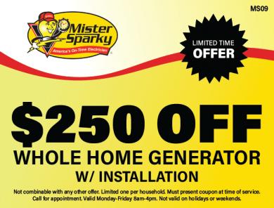 $250 Off Home Generator Installation